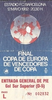 FIRES CUP FINAL, Camp Nou ticket 12/05/1982 FC BARCELONA v STANDAR LIEGE